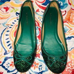 Talbots Green Python Ballet Flats Sz 6